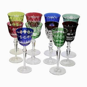 Crystal Stem Glasses with Colored Overlay from Val Saint Lambert, 1960s, Set of 10