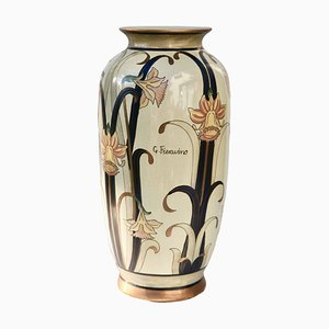 Large Vintage Italian Glazed Earthenware Vase by G. Fieravino