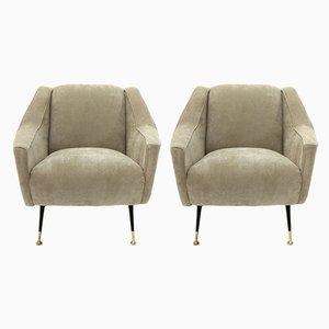 Mid-Century Italian Modern Beige Velvet Armchairs, 1950s, Set of 2