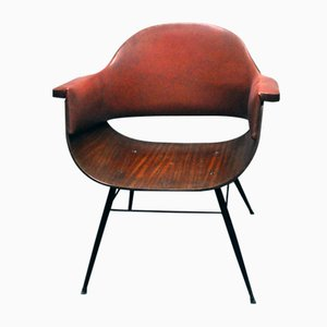 Italian Wood, Iron, & Leatherette Chair by Carlo Ratti, 1950s