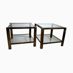 French Brass and Glass Side Tables from Maison Jansen, 1978, Set of 2