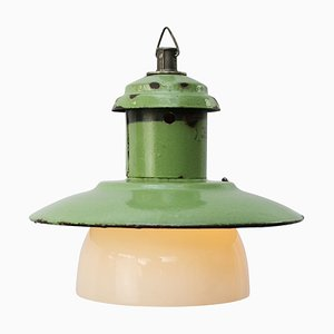 Mint Green Enamel & Opaline Glass Industrial Ceiling Lamp, 1950s