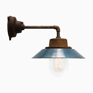 Blue Enamel & Cast Iron Industrial Sconce, 1950s