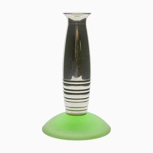 Bougeoir Moderniste en Plaqué Argent avec Socle en Verre Givré Vert de Christofle, années 60