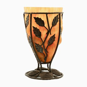 Wrought Metal & Glass Vase by Louis Majorelle for Daum, 1920s