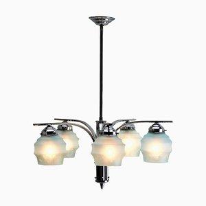Lámpara de techo Art Déco vintage de 5 brazos cromada
