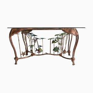 Mesa de comedor con bancos de peces de cobre patinado, años 80