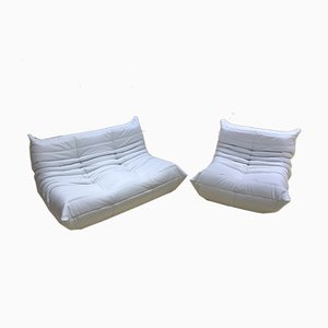 Vintage White Leather Togo Living Room Set by Michel Ducaroy for Ligne Roset