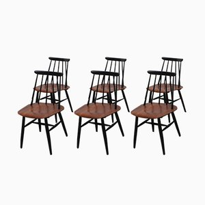 Mid-Century Fanett Dining Chairs by Ilmari Tapiovaara for Asko, Set of 6