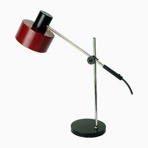 Verchromte Mid-Century Tischlampe mit rotem Schirm aus Metall von Gura