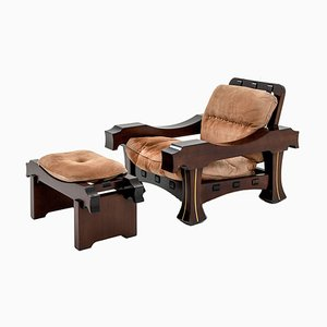 Hussar Armchair and Footrest by Luciano Frigerio, 1970s