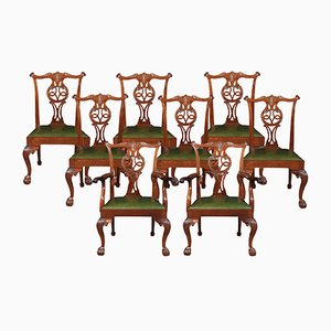 Antique Mahogany Chippendale Dining Chairs, Set of 8