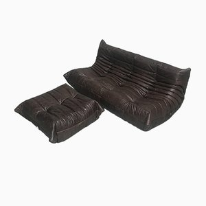 Vintage Brown Leather Living Room Set by Michel Ducaroy for Ligne Roset