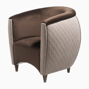 Vison & Chocolate Upholstered Armchair with Walnut Frame by Jacobo Ventura