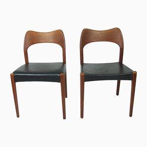 Chaises de Salle à Manger Mid-Century en Teck par Arne Hovmand-Olsen pour Mogens Kold, Set de 2