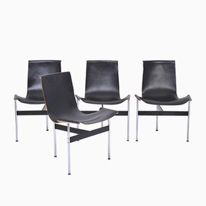 Black Leather T-Chairs by Ross Littell for Laverne International, 1970s, Set of 4
