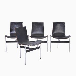 T-Stühle aus schwarzem Leder von Ross Littell für Laverne International, 1970er, 4er Set
