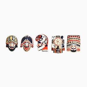 Máscaras gallegas Mid-Century de porcelana de Sargadelos. Juego de 5