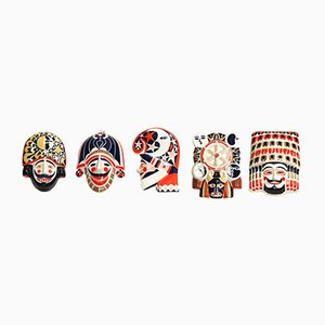 Masques Mid-Century Galiciens en Porcelaine de Sargadelos, Set de 5