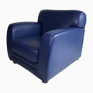 Blue Leather Lounge Chair from Steiner, 1980s
