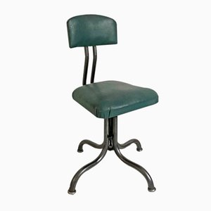 Metal & Green Skai Desk Chair, 1950s