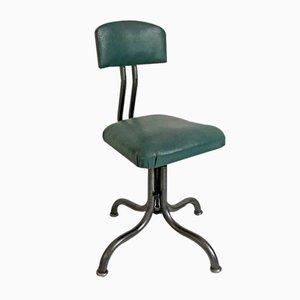 Sedia da scrivania in metallo e skai verde, anni '50