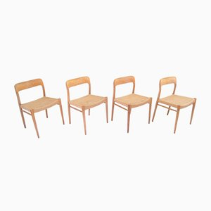 Model 75 Dining Chairs by Niels Otto Møller for J.L. Møllers, 1950s, Set of 4