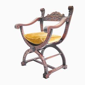 Italienischer Vintage Armlehnstuhl aus Nussholz