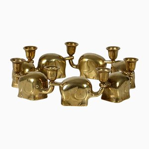 Brass Candleholders from HAKU, 1960s, Set of 7