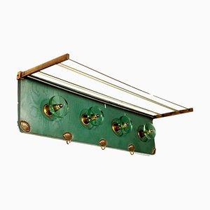 Appendiabiti in skai, ottone e vetro, anni '50