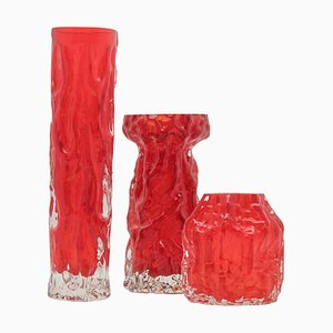 Vasi vintage in cristallo rosso di Ingrid Glas, Germania, set di 3