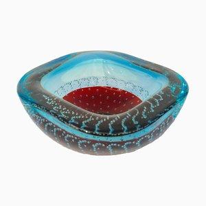 Cuenco italiano Mid-Century de cristal de Murano en rojo y azul de Galliano Ferro