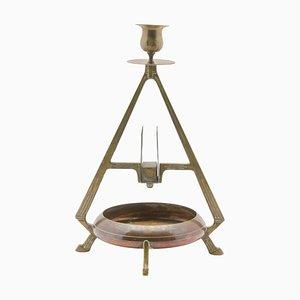 Antiker deutscher Kerzenständer aus Kupfer & Messing