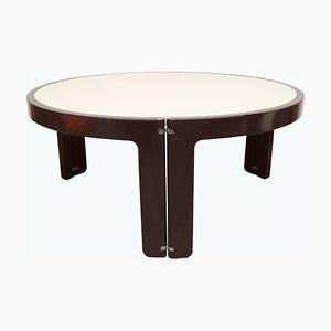 Mesa de centro en blanco crema y marrón, años 70