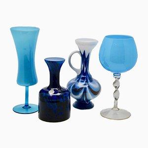 Set de Vases en Opaline Bleu et Verres d'Empoli, 1970, Lot de 4