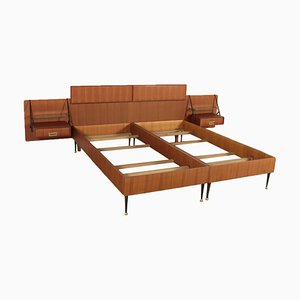 Teak Veneered Double Bed by Silvio Cavatorta, 1960s