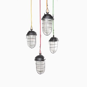 Industrial Caged Hanging Pendant Lamp, 1960s