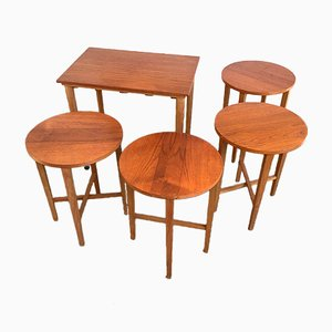Teak Trolley and Folding Stools Set from Poul Hundevad, 1960s