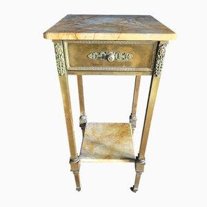 Table d'Appoint Vintage en Laiton et Marbre, Italie, années 40