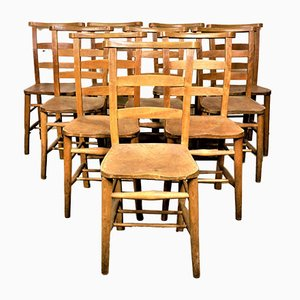 Vintage Elm Church Dining Chairs, 1930s, Set of 8
