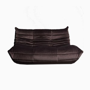 Gray Velvet Two-Seat Togo Sofa by Michel Ducaroy for Ligne Roset, 1970s
