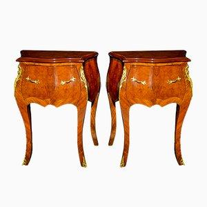 Mesas de centro estilo Luis XV antiguas de nogal. Juego de 2