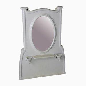 Emaillierter Vintage Badezimmerspiegel mit Rahmen aus Gusseisen