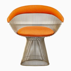 Orange Fabric and Steel Dining Chairs by Warren Platner for Knoll Inc. / Knoll International, 1960s, Set of 4