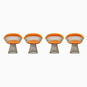 Esszimmerstühle mit Gestell aus Stahl & orangefarbenem Stoffbezug von Warren Platner für Knoll Inc. / Knoll International, 1960er, 4er Set