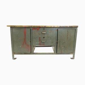 Mesa de trabajo industrial de madera y metal, años 60