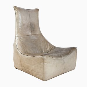 Brutalist Leather Lounge Chair by Gerard van den Berg for Montis, 1970s