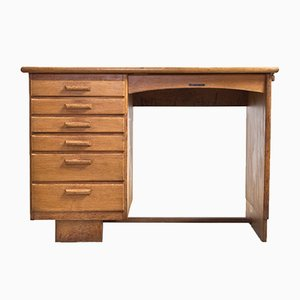Dutch Art Deco Oak Desk, 1930s