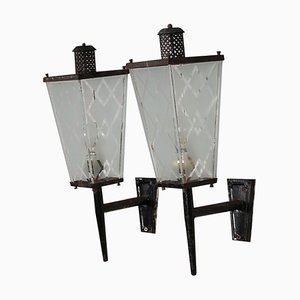 Frosted Glass and Iron Sconces, 1950s, Set of 2