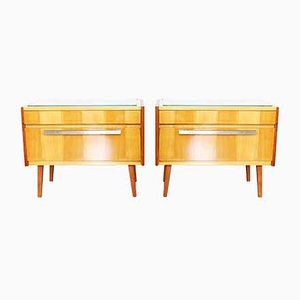 Maple Veneer Nightstands, 1960s, Set of 2
